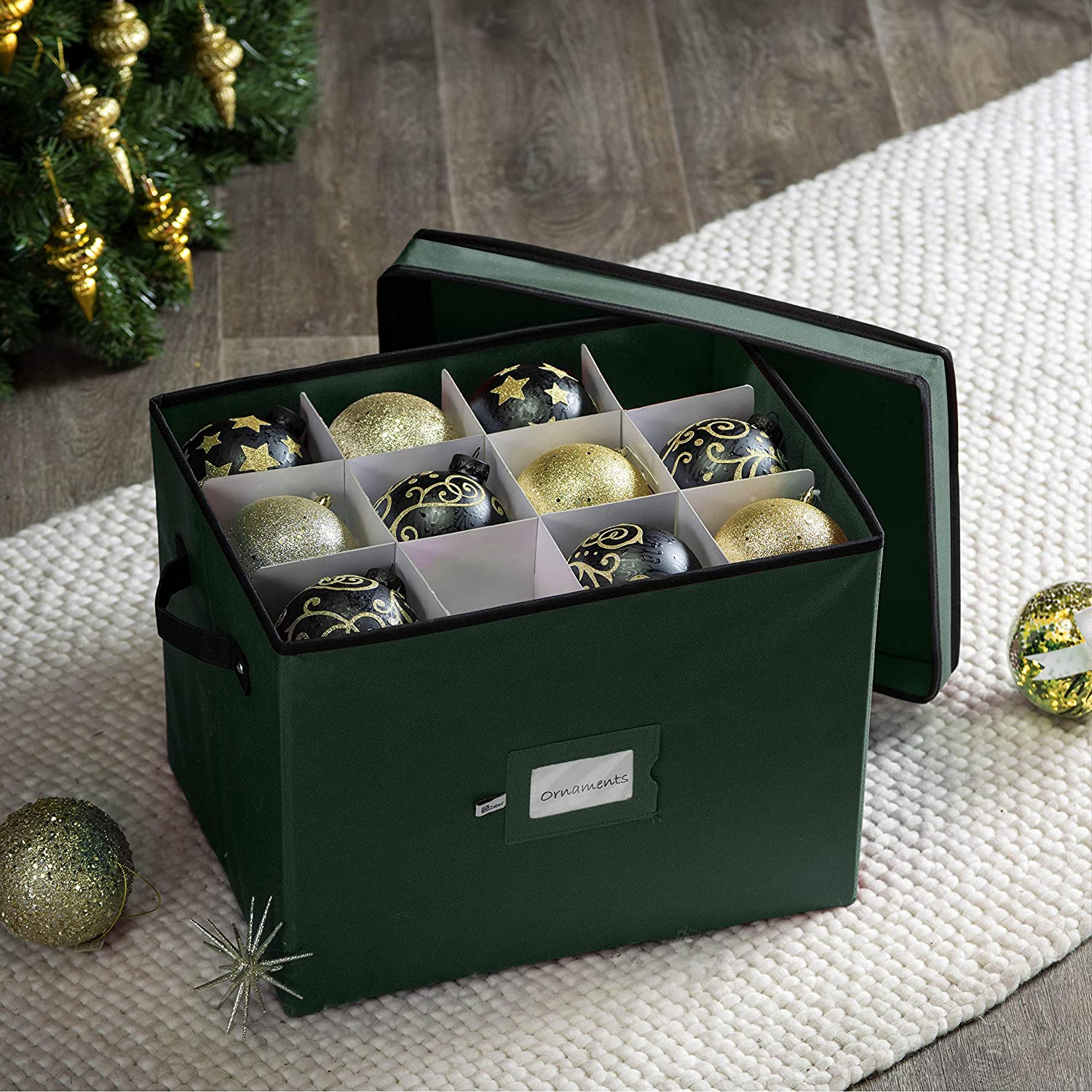 Small Ornament Storage Box for 36, Polyester 12