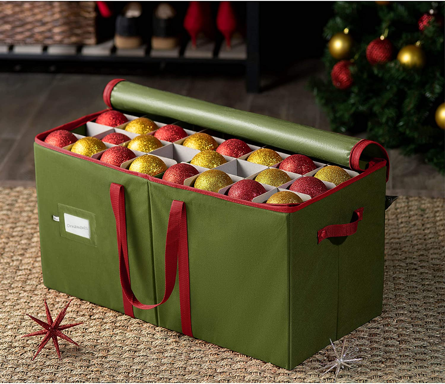 Large Ornament Storage Box for 128, Non-Woven 13.5