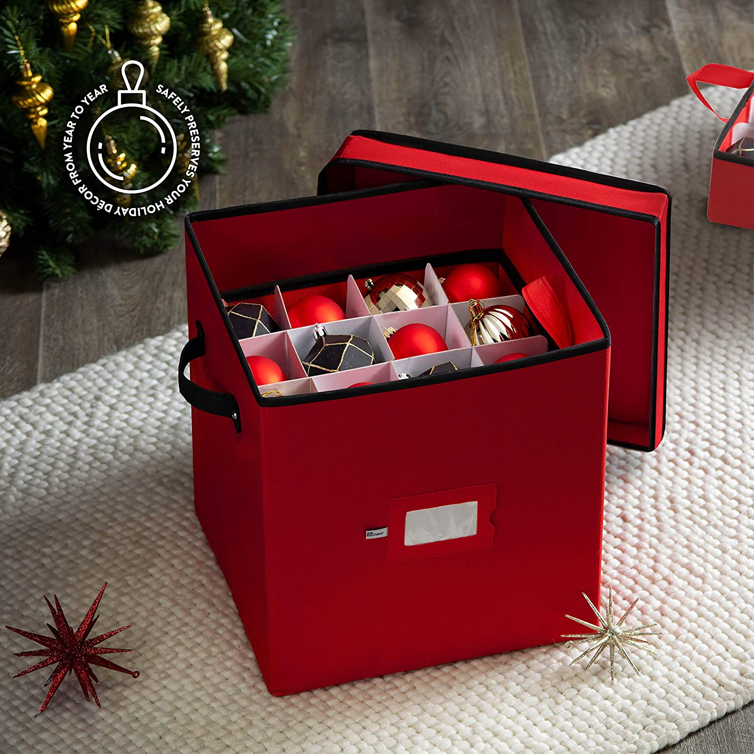 Christmas Ornament Storage Box with Lid for 64 Ornaments, Polyester 13.5