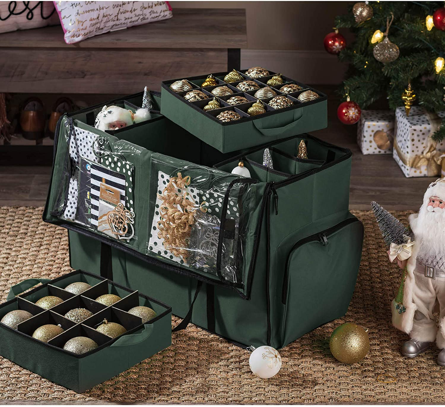 All-In-One Ornament Storage Box for 73 Ornaments and Figurines, Polyester 18