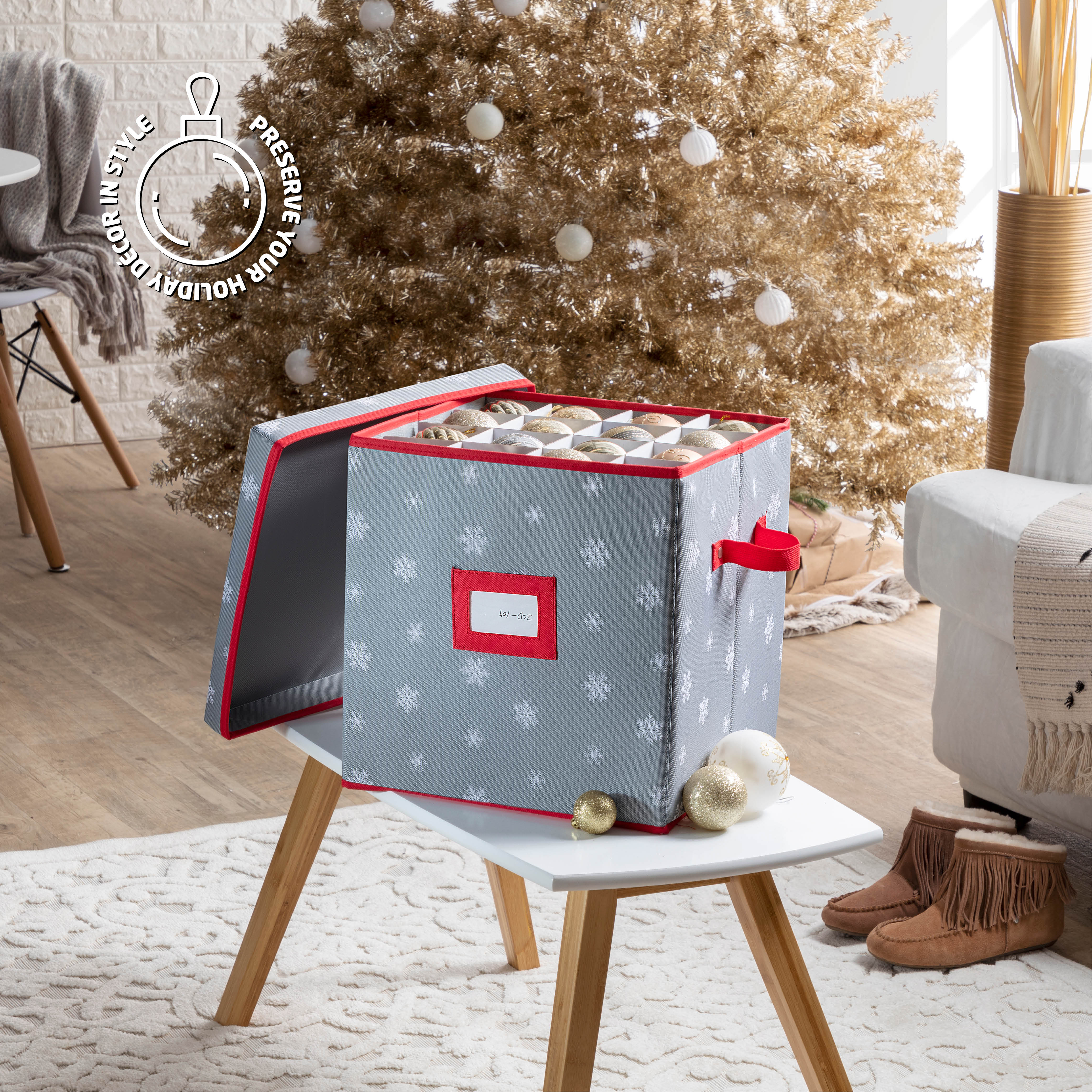 Christmas Waterproof Ornament Storage Box for 64, with Lid and Card Slot, 600D Polyester 13.5