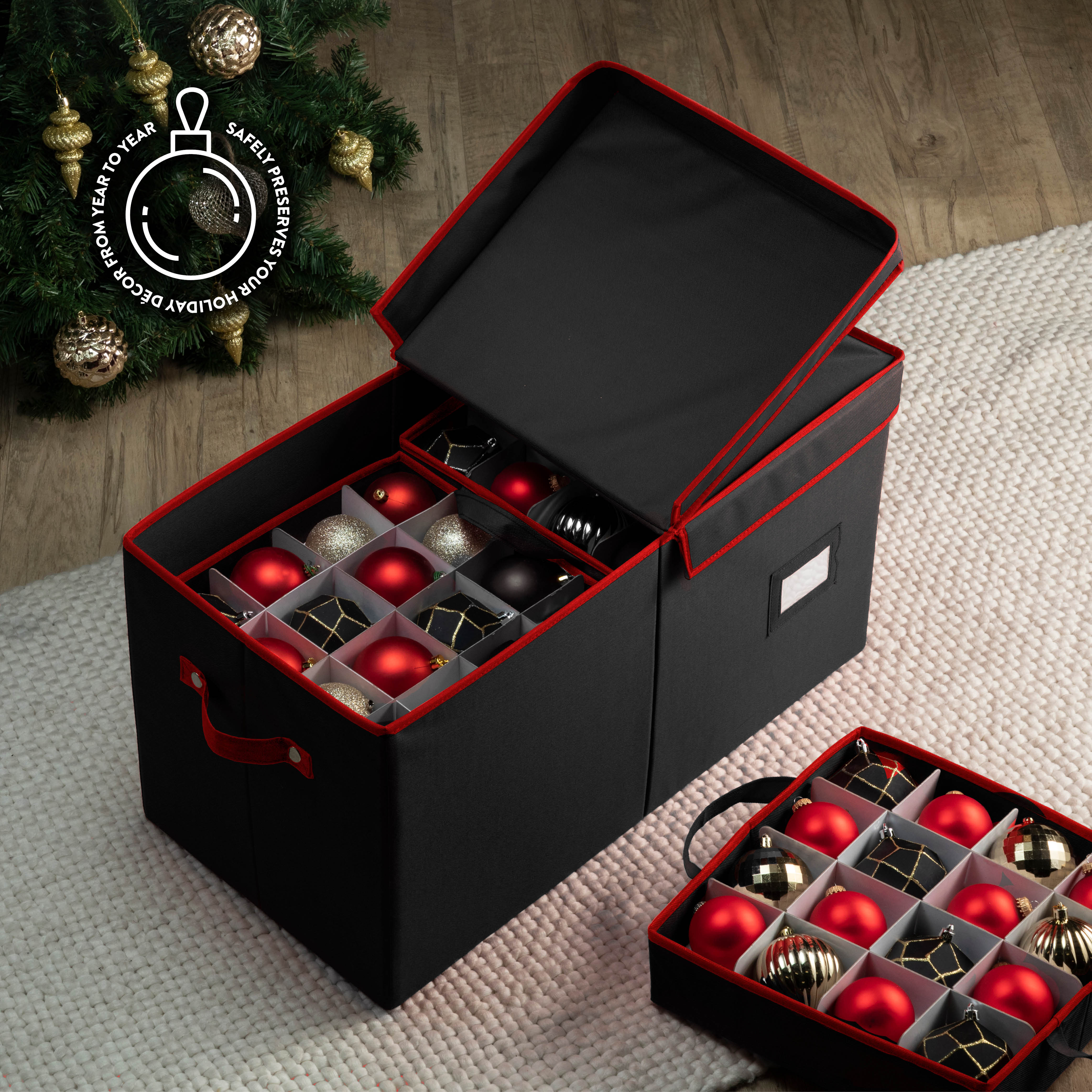 Large Waterproof Ornament Storage Box for 128, with Lid and Card Slot, 600D Polyester 13.5
