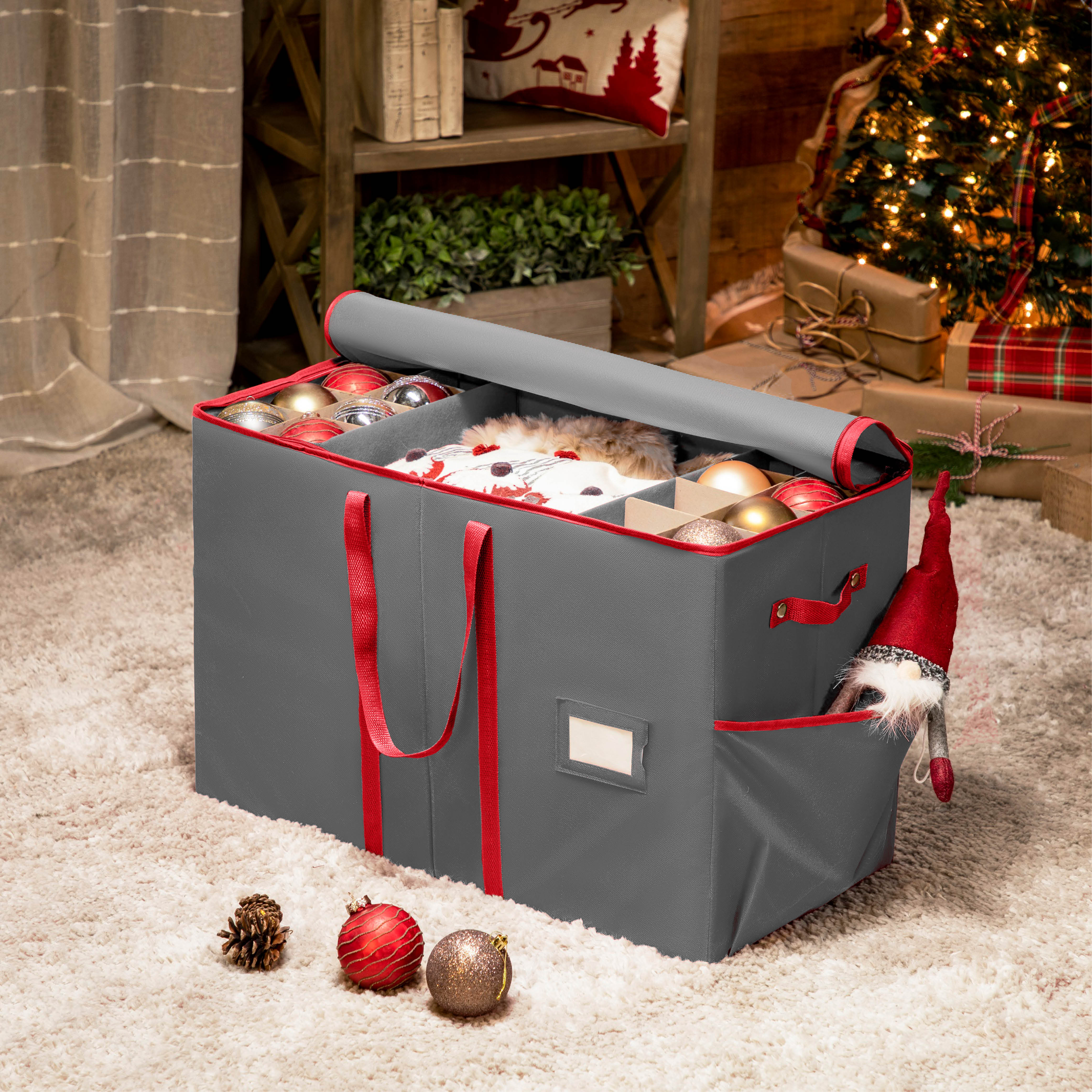 All-In-One Ornament and Figurine Storage Box with Pockets and Compartments for 80+, Non-Woven 16.7