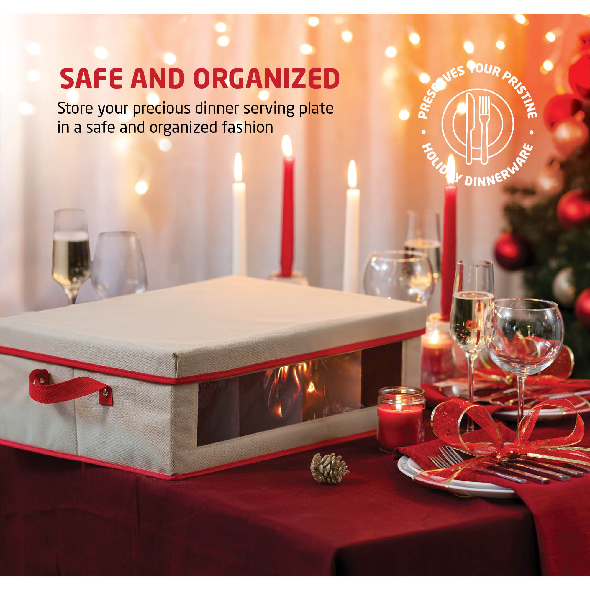 Holiday Mug Storage Box for Dinnerware Storage for 12, Non-Woven Ivory and Red