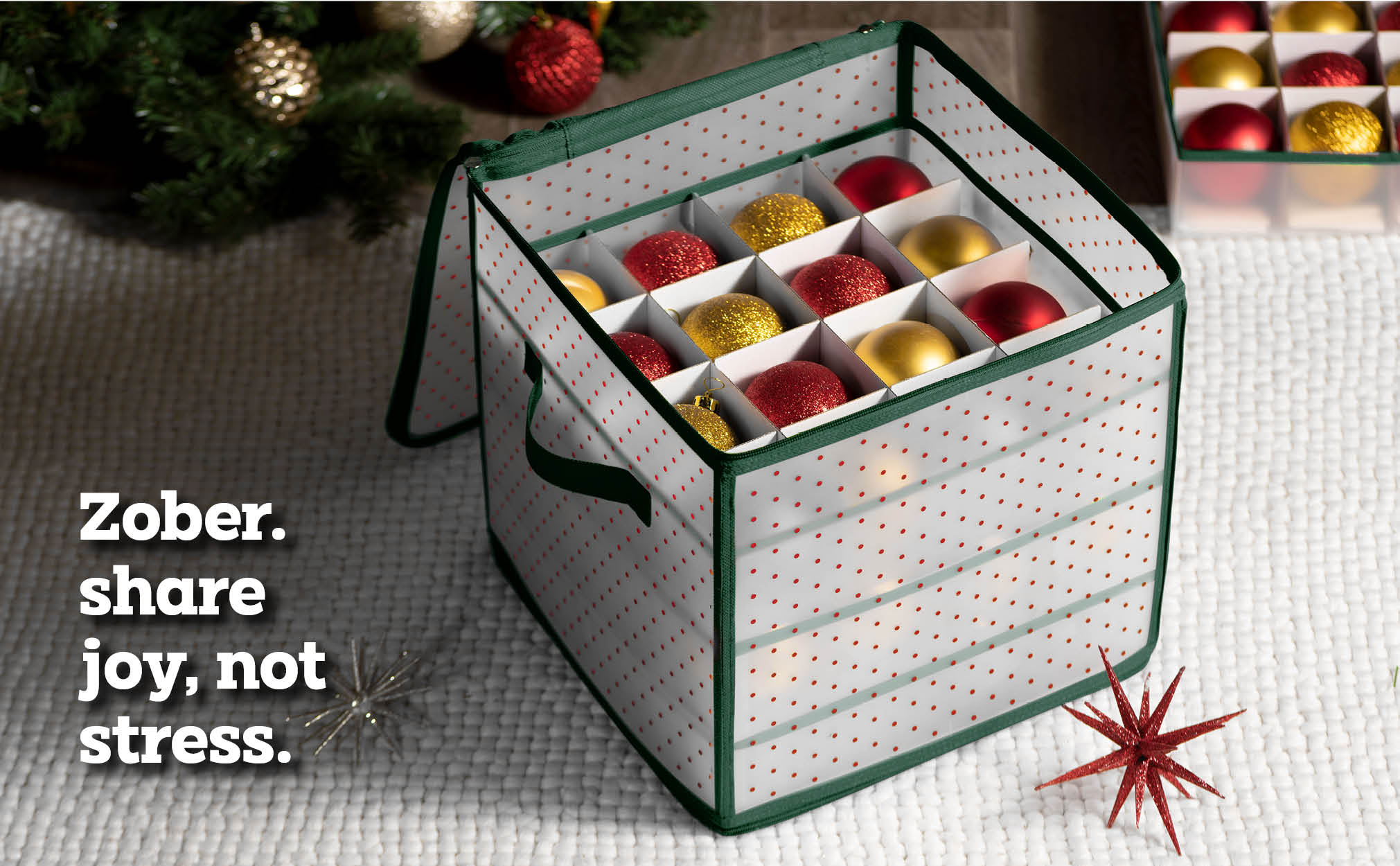 Clear Christmas Ornament Storage Box for 64 Ornaments with 4 Trays and Carry Handles; Tearproof and Waterproof Vinyl Green