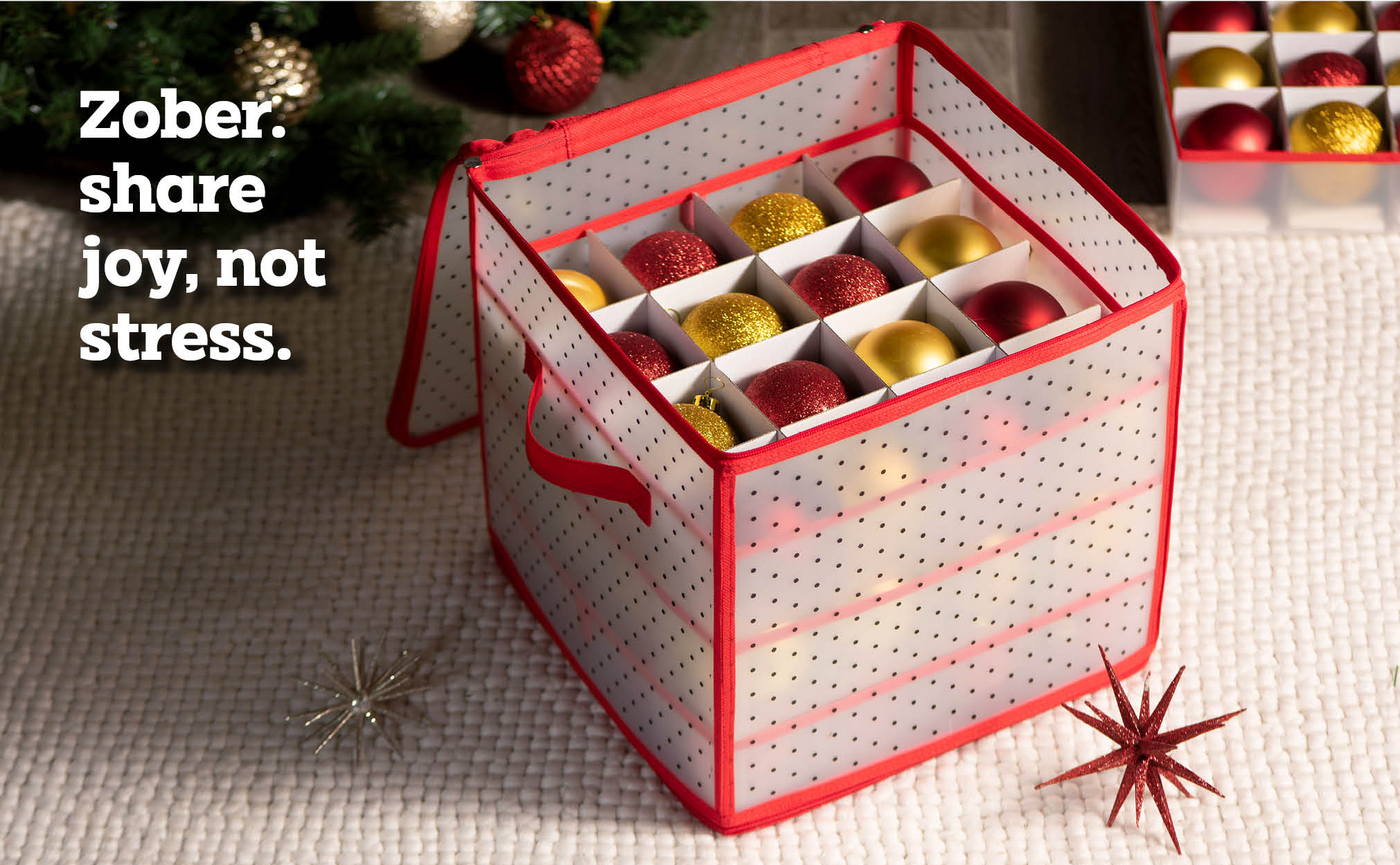 Clear Christmas Ornament Storage Box for 64 Ornaments with 4 Trays and Carry Handles; Tearproof and Waterproof Vinyl Red