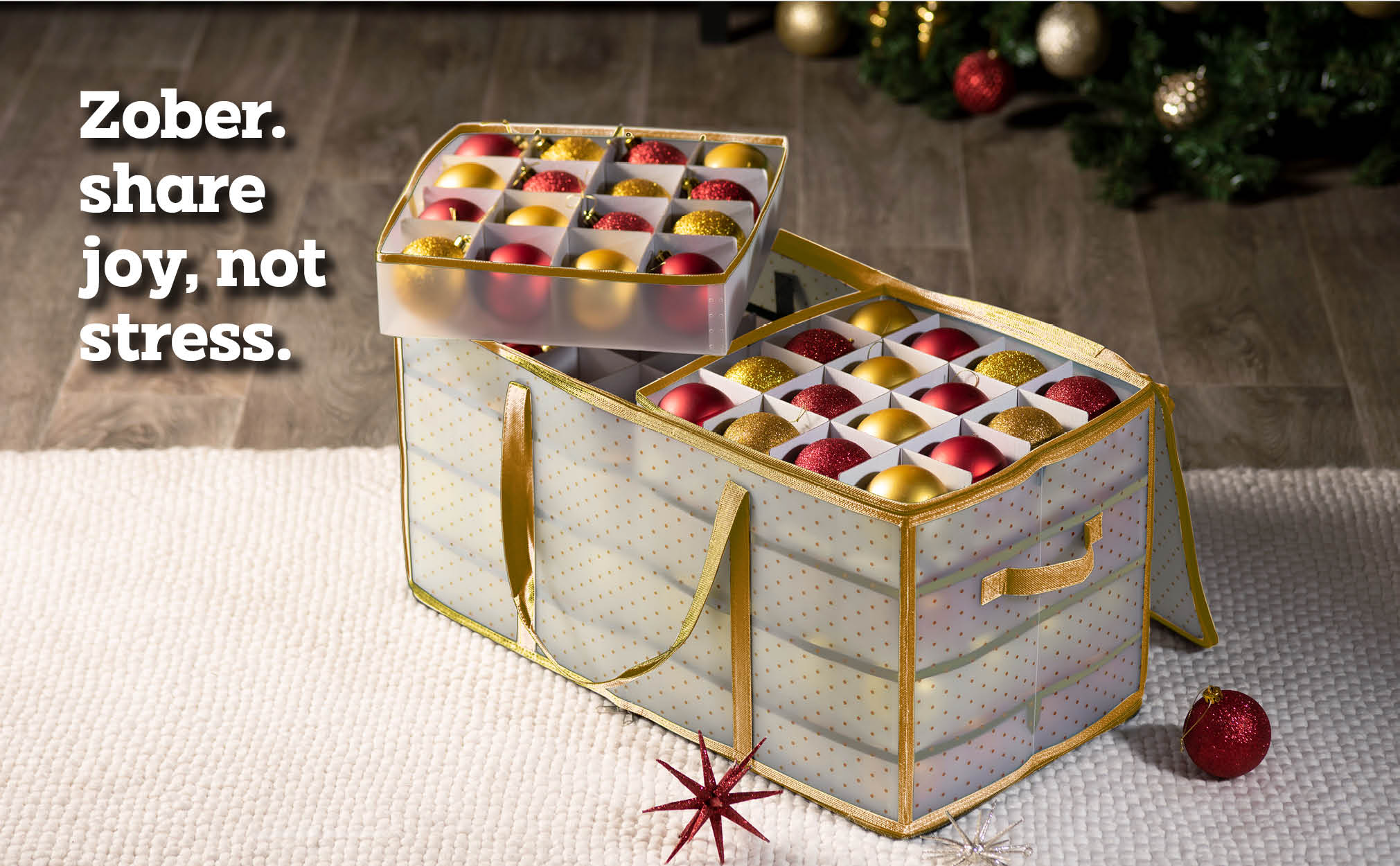 Clear Christmas Ornament Storage Box for 128 Ornaments with 8 Trays and Carry Handles; Tearproof and Waterproof Vinyl Gold