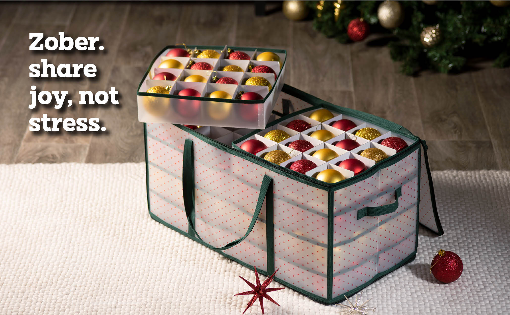 Clear Christmas Ornament Storage Box for 128 Ornaments with 8 Trays and Carry Handles; Tearproof and Waterproof Vinyl Green