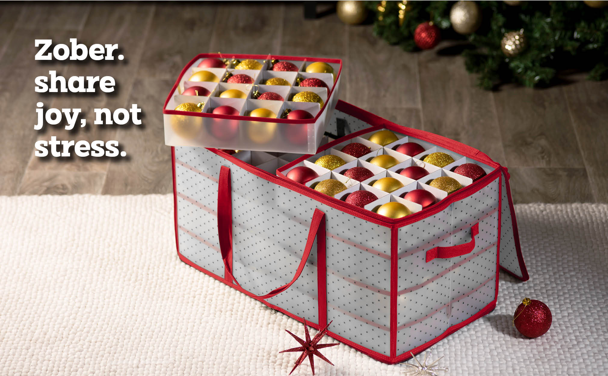 Clear Christmas Ornament Storage Box for 128 Ornaments with 8 Trays and Carry Handles; Tearproof and Waterproof Vinyl Red