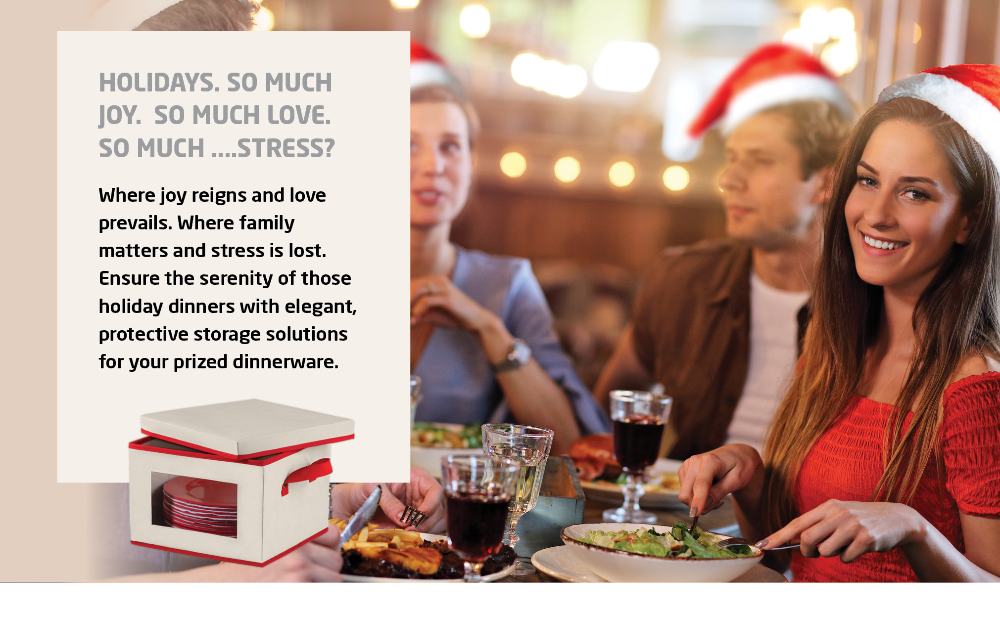 4-Pack Holiday Plate Boxes, Includes Salad, Soup, Dinner, and Mug Storage Box, Non-Woven Ivory and Red