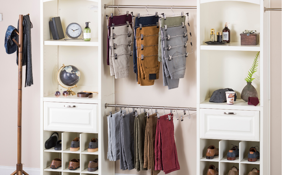 4 Tier Trouser/Skirt Metal Hanger, Space Saving, 6-Pack