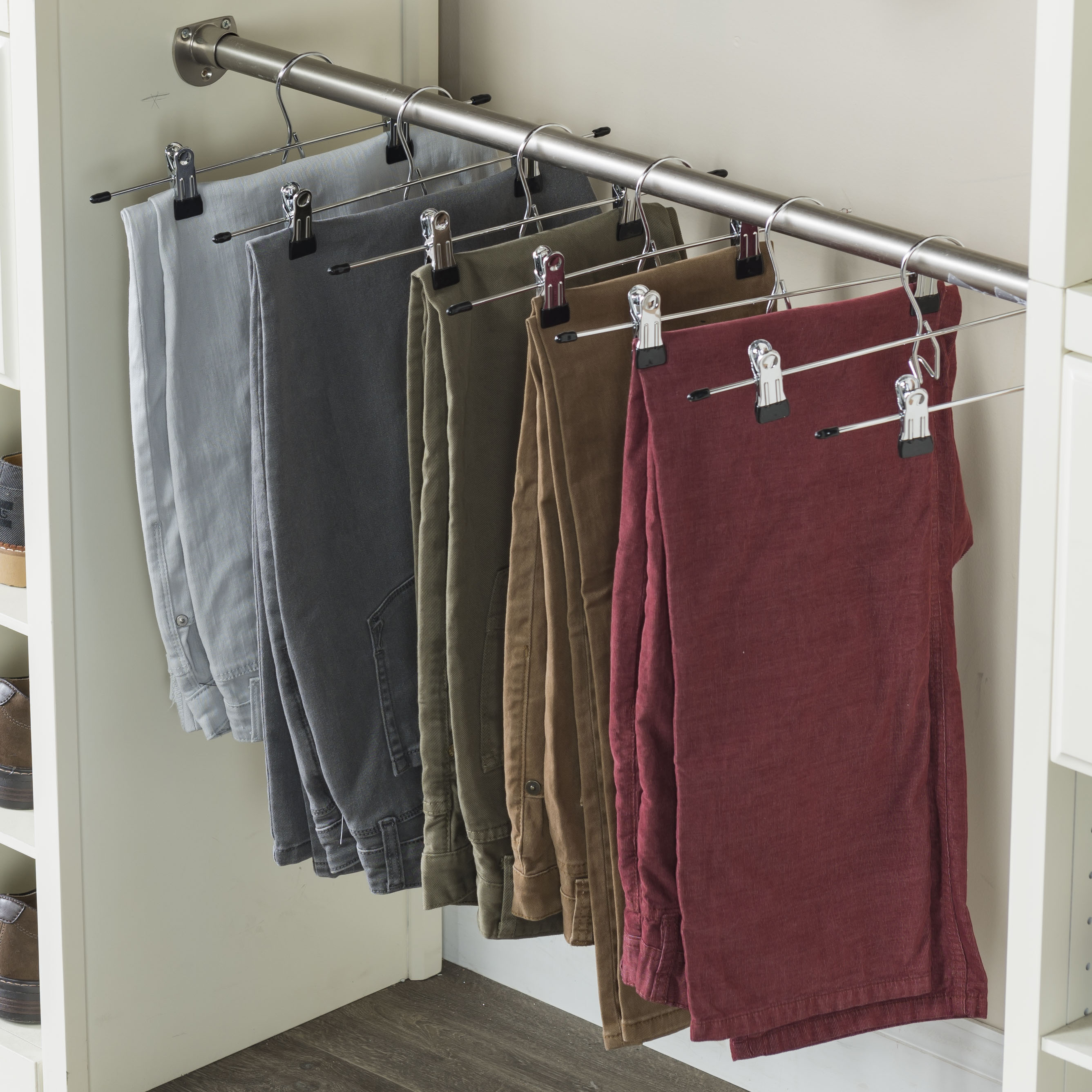 Metal Pants Hanger with 2 Clips, 20-Pack