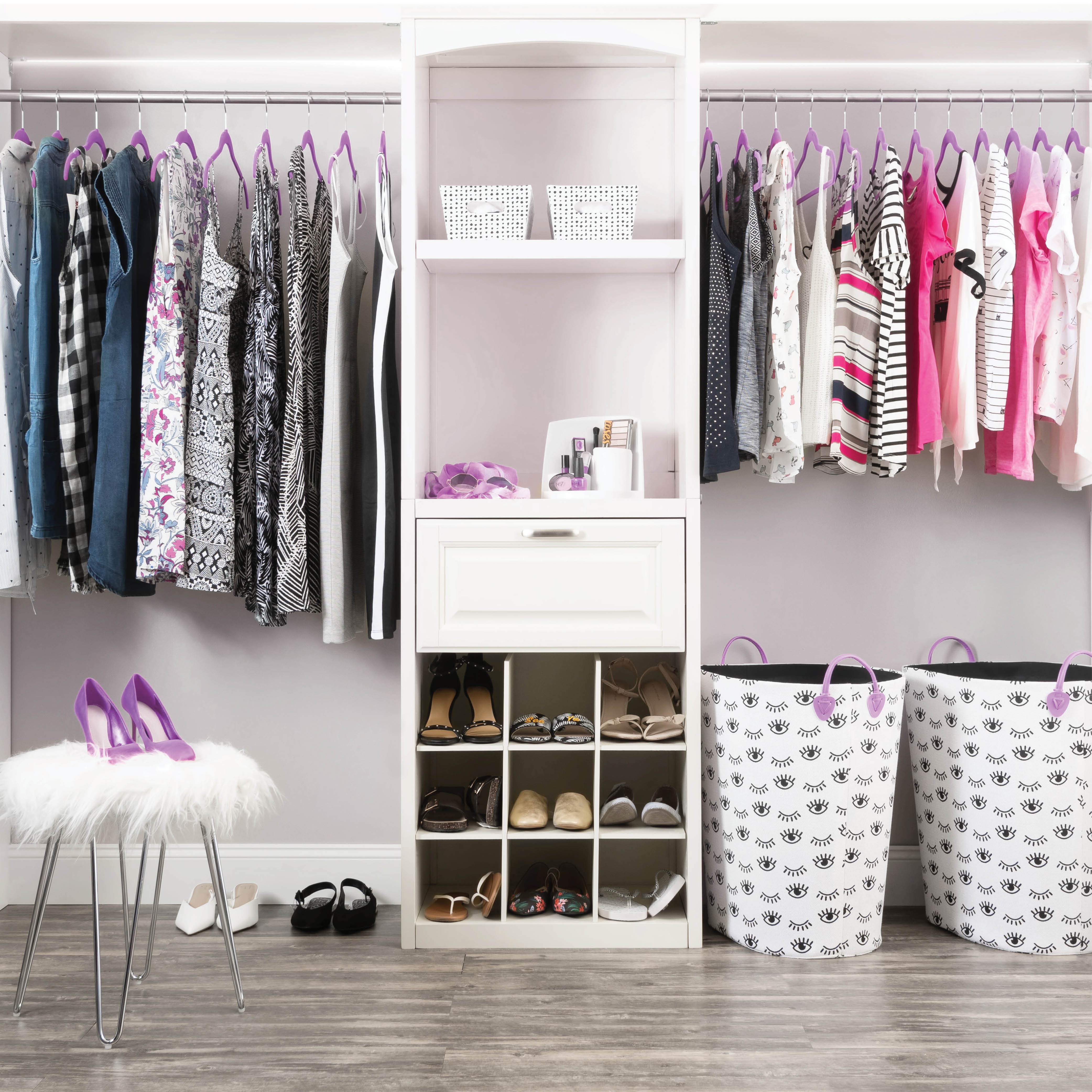 Purple 100-Pack Standard Adult Clothes Hanger with Pants Bar and Notches