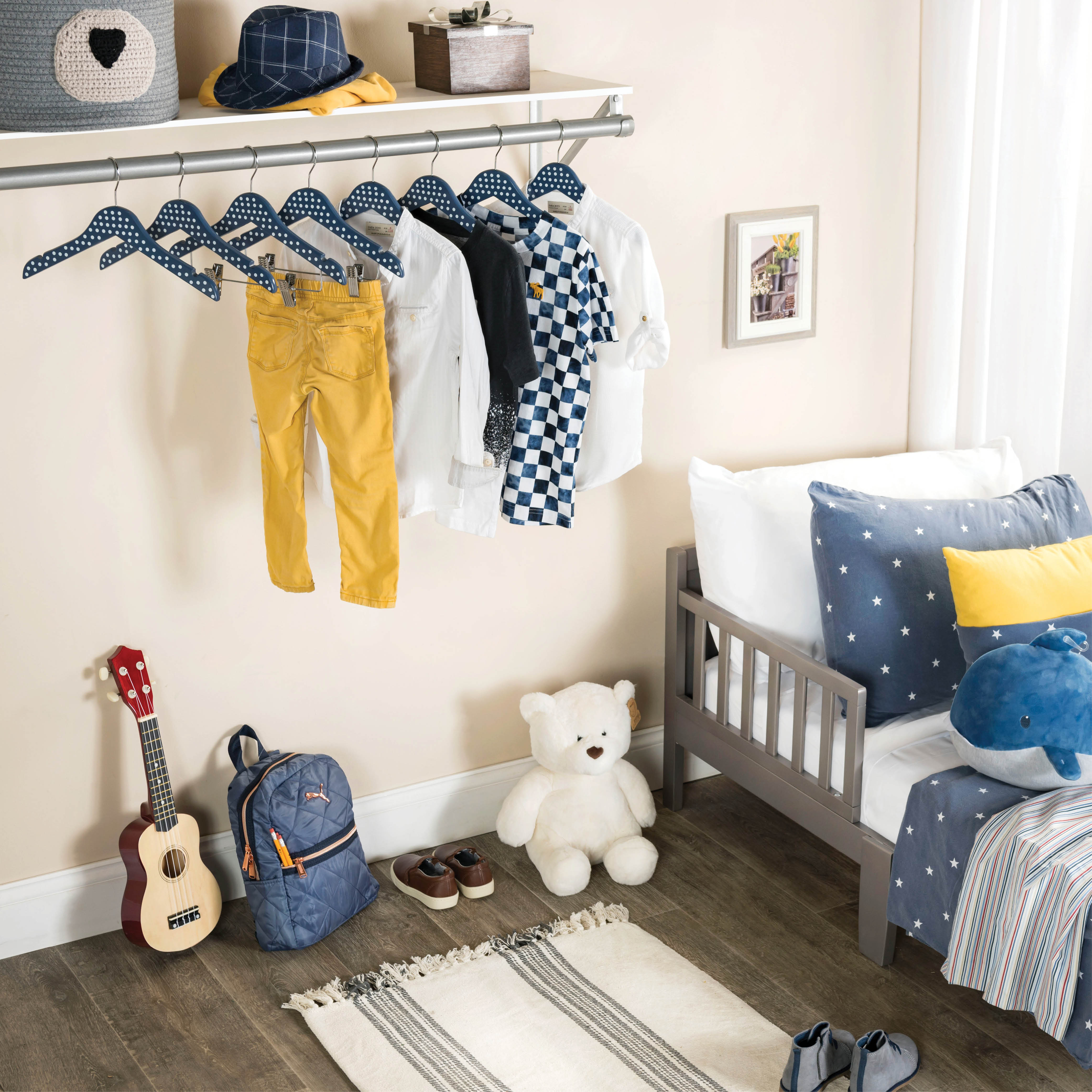 10-pack Blue Polka-Dot Kids Wood Clothes Hangers with Clips