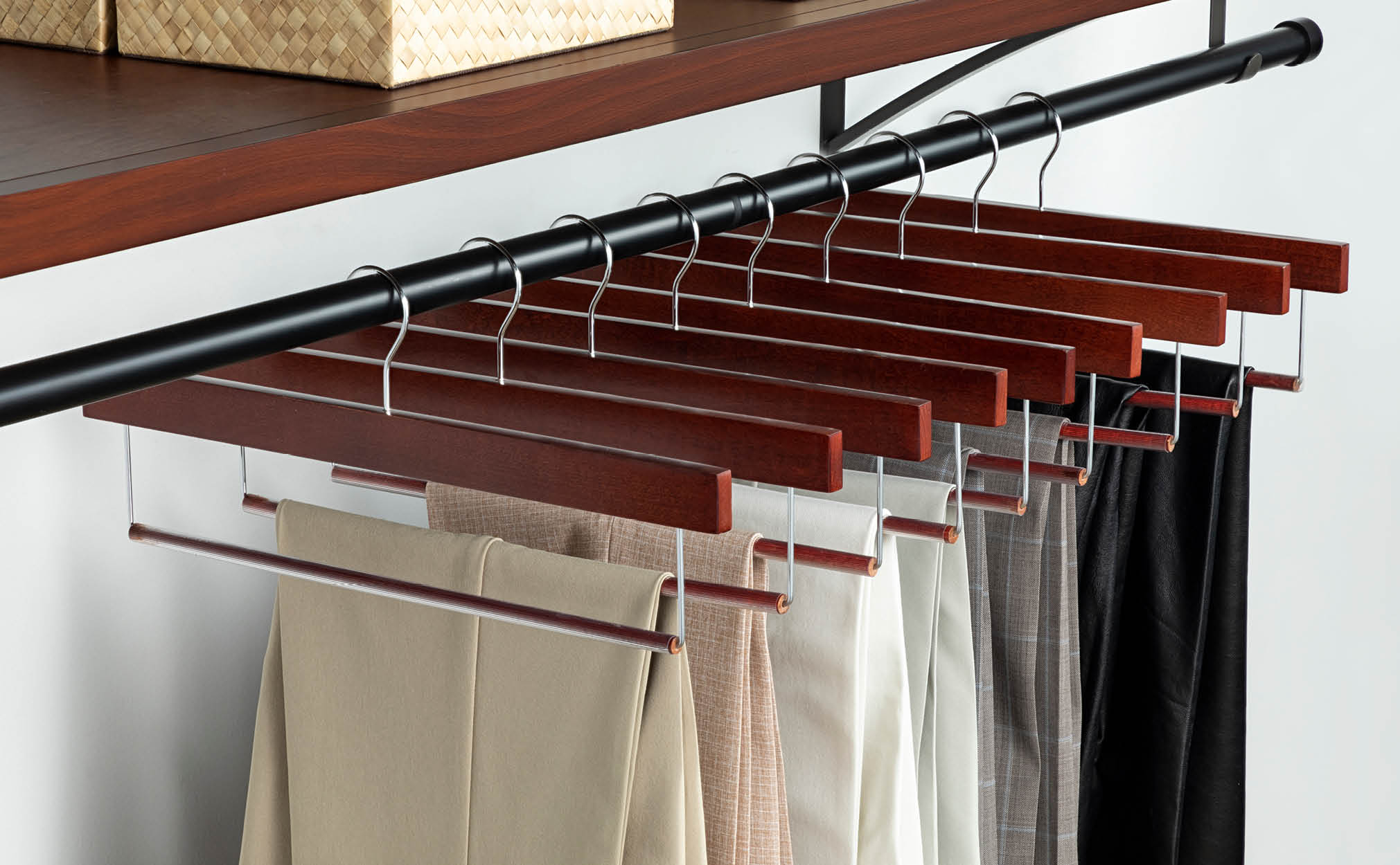 10-Pack Cherry Wooden Pant Hanger with Hanging Bar