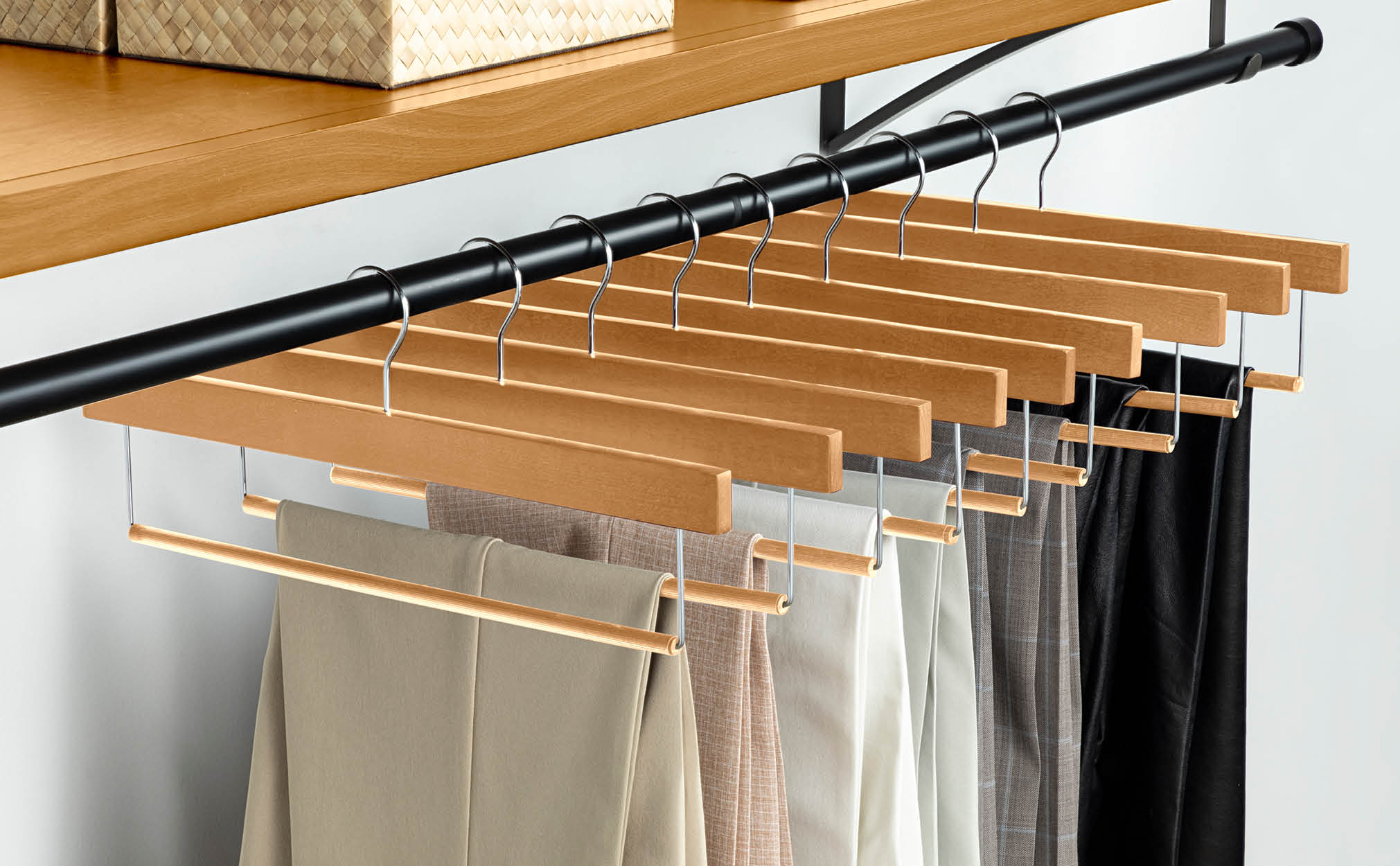 10-Pack Natural Wooden Pant Hanger with Hanging Bar