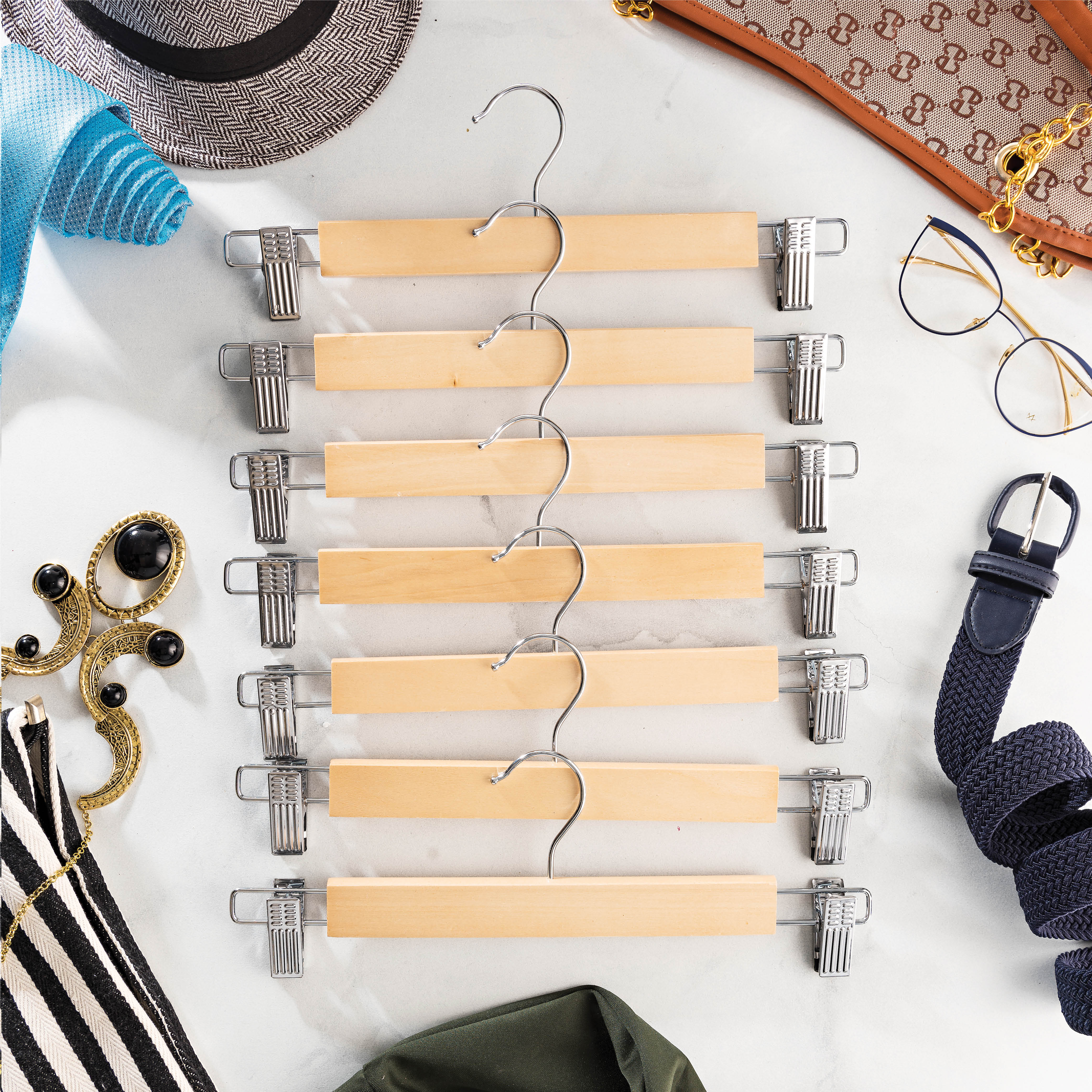 20-Pack Natural Wooden Skirt Hanger with 2 Metal Clips